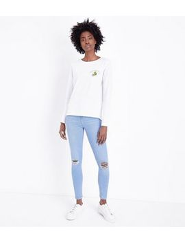Bright Blue Ripped Knee High Waist Skinny Hallie Jeans by New Look