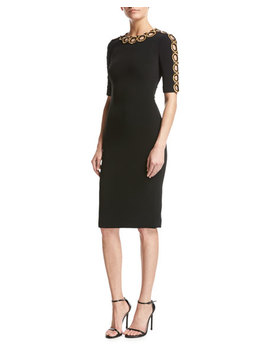 Half Sleeve Beaded Cutout Dress by Jenny Packham