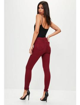 Burgundy Vice High Waisted Skinny Jeans by Missguided