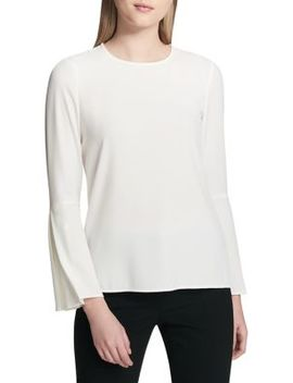 Pleated Bell Sleeve Top by Calvin Klein
