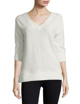 Textured V Neck Top by French Connection