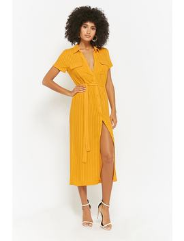 Shadow Striped Button Front Dress by Forever 21