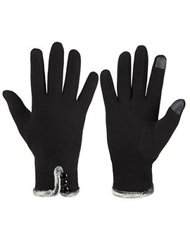 Gloue Women's Touch Screen Gloves Texting Lined Cashmere Thick Gloves Warm Whether Winter Gloves Driving Riding Outdoor And Indoor Fashionable Gloves by Gloue