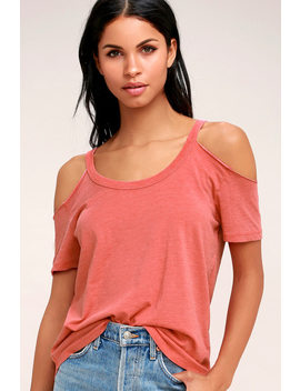 anuhea-washed-coral-red-off-the-shoulder-tee by z-supply
