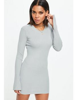 Grey Long Sleeve Ribbed Knitted Bodycon Dress by Missguided