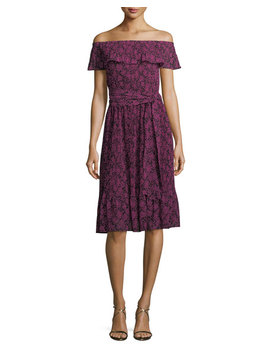 Star Print Pleated Trim Dress by Michael Michael Kors