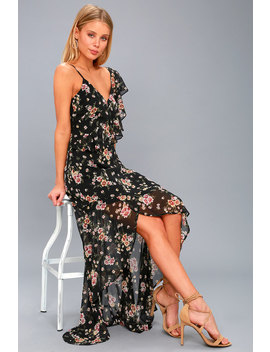 Harmonia Black Floral Print High Low Maxi Dress by Lulus