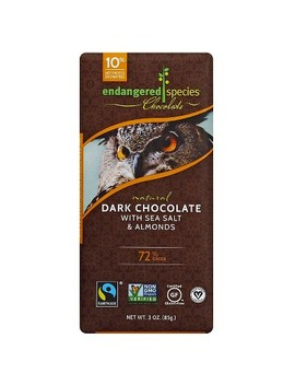 Endangered Species Chocolate Dark Chocolate With Sea Salt & Almonds   3oz by Endangered Species Chocolate