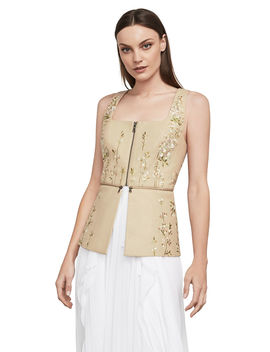 Floral Embroidered Faux Leather Top by Bcbgmaxazria