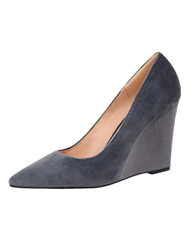 Wedge Heels Solid Color Pointed Toe Pumps by Oasap