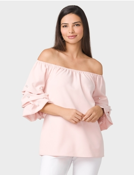 Ruched Pearl Sleeve Top by Dressbarn