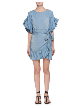 Lelicia Round Neck Wrap Front Chambray Dress by Etoile Isabel Marant