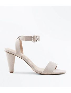 Grey Suedette Cone Heel Sandals by New Look