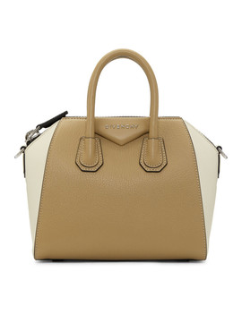 Beige & Off White Mini Antigona Bag by Givenchy