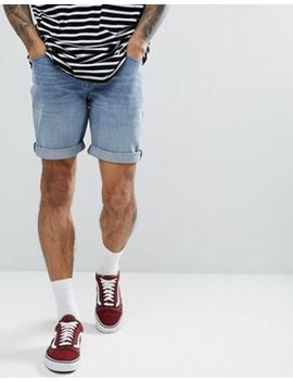 Asos Denim Shorts In Slim Mid Wash by Asos