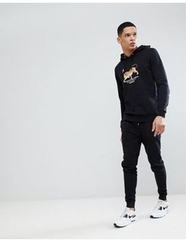 Asos Tracksuit Hoodie/Skinny Joggers With Tiger Print In Black by Asos
