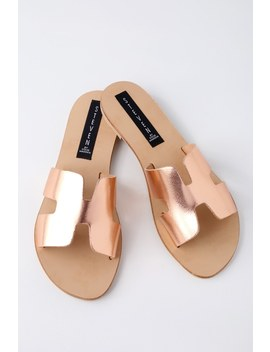 Greece Rose Gold Leather Slide Sandals by Steven