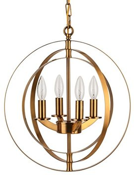 Cerdeco 4 Lights Sphere Chandelier Modern Pendant Light Antique Brass Plated [Ul Listed] by Cerdeco