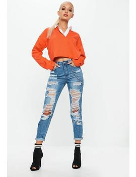 Orange Cropped Rugby Shirt by Missguided