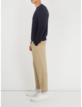 Mid Rise Straight Leg Wool Trousers by Prada