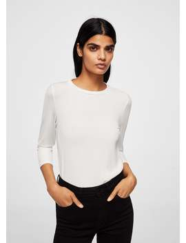 Textured Flowy T Shirt by Mango