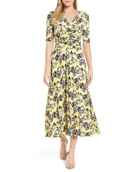 Floral Ruched Midi Dress by Chaus
