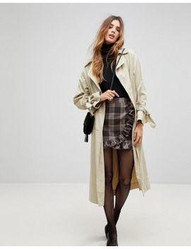 Parisian Check Mini Skirt With Ruffle Detail by Parisian