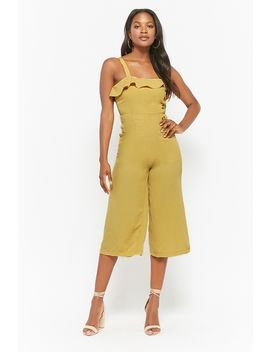 Button Front Flounce Jumpsuit by Forever 21
