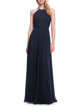 Open Back Halter Neck Chiffon Gown by #Levkoff