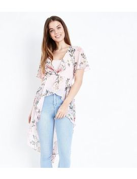 Pink Floral Chiffon Twist Front Kimono by New Look