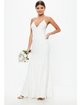 Bridal White Diamante Strap Maxi Dress by Missguided