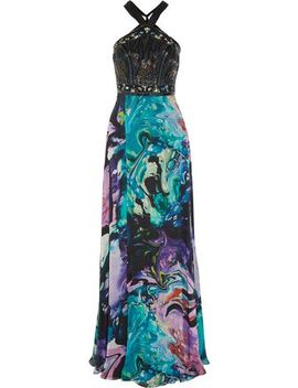 Embellished Printed Silk Chiffon Gown by Matthew Williamson