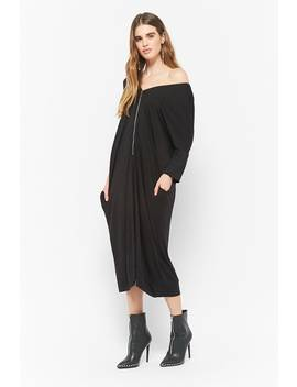 Zip Up Dolman Sleeve Dress by F21 Contemporary