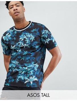 Asos Design Tall Relaxed T Shirt With Faded Floral And Tipped Rib by Asos Design