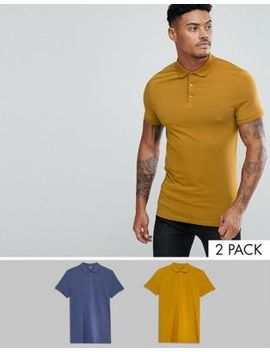 Asos Design Muscle Fit Jersey Polo 2 Pack Save by Asos