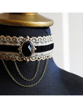 Gothic Victorian Choker With Black Crystal,Steampunk Black And Beige Lace Choker Ready To Ship by Etsy