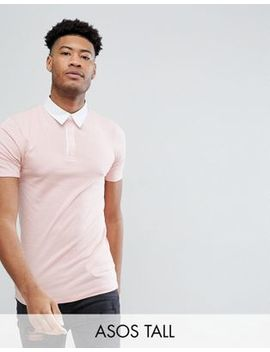 Asos Design Tall Muscle Rugby Polo Shirt In Pink by Asos