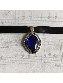 Blue Choker Necklace, Choker Necklace, Blue Choker, Blue Necklace, Goth Choker, Victorian Choker, Victorian Choker Necklace, Gift Under 25 by Etsy