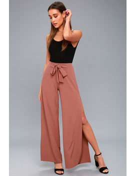 Going Places Mauve Wide Leg Pants by Lulus