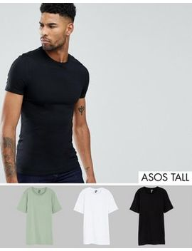 Asos Tall Muscle Fit T Shirt With Crew Neck 3 Pack Save by Asos Tall