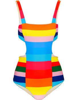 Vela Striped Cutout Swimsuit by Mara Hoffman