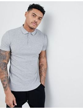 Asos Design Muscle Polo Shirt In Textured Waffle by Asos