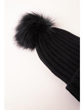 Black Faux Fur Pom Pom Beanie by Missguided