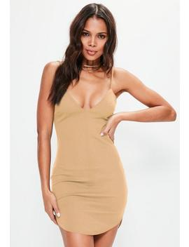 Nude Strappy Plunge Bodycon Dress by Missguided