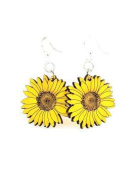 Handmade Wood Wooden Laser Cut Yellow Sunflower Earrings by Etsy