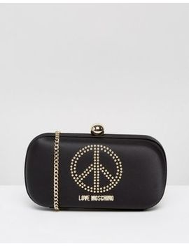 Love Moschino Satin Clutch Bag With Embellishment by Love Moschino