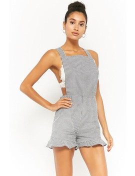 Oh My Love Gingham Seersucker Romper by Forever 21