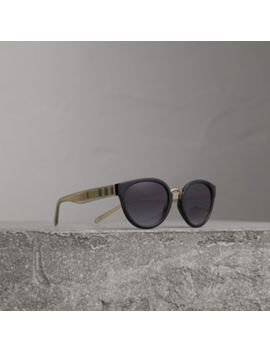Check Detail Cat Eye Frame Sunglasses by Burberry