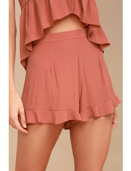 Frill Seeker Rusty Rose Shorts by Lucy Love