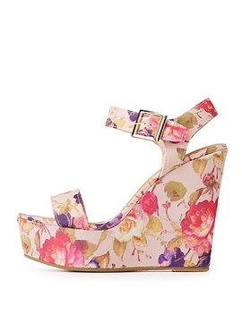 Bamboo Floral Wedge Sandals by Charlotte Russe